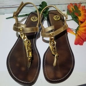 Tory Burch Sandals Gold Chain Brown Leather 5.5